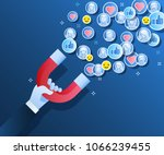 concept of attracting followers ... | Shutterstock .eps vector #1066239455