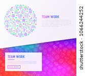 teamwork concept in circle with ... | Shutterstock .eps vector #1066244252