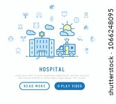 hospital and ambulance concept... | Shutterstock .eps vector #1066248095