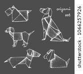 origami   set of 5 white paper... | Shutterstock .eps vector #1066257926