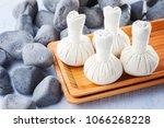 thai herbal compress massage...   Shutterstock . vector #1066268228