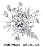 bouquet of black monochrome... | Shutterstock .eps vector #1066280225