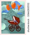 stroller with a newborn boy.... | Shutterstock .eps vector #1066283552