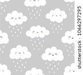 cute cartoon face cloud... | Shutterstock .eps vector #1066297295