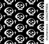 seamless skulls textile doodle... | Shutterstock . vector #1066299806