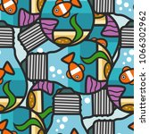 seamless fish pattern in the... | Shutterstock .eps vector #1066302962