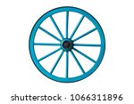 Blue Old Wooden Wheel Isolated...