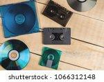 musical cassettes disk floppy... | Shutterstock . vector #1066312148