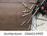 hammer drill and dowels on the... | Shutterstock . vector #1066314905