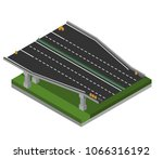 isometric highway ramp 3 | Shutterstock .eps vector #1066316192