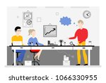 team work in office banner  ... | Shutterstock .eps vector #1066330955