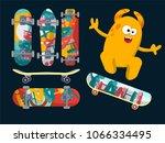 bright skateboard on a dark... | Shutterstock . vector #1066334495