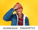 handsome black man beating... | Shutterstock . vector #1066345715