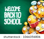 welcome back to school text and ... | Shutterstock .eps vector #1066356806