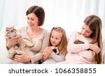 mother and two little daughters ... | Shutterstock . vector #1066358855