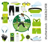 equipment for running. girl... | Shutterstock .eps vector #1066362458