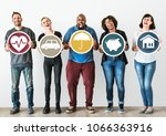 diverse people with insurance... | Shutterstock . vector #1066363916