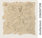pirate treasure map of the... | Shutterstock . vector #1066367108