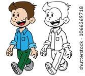 kid walking cartoon... | Shutterstock .eps vector #1066369718