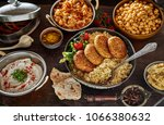 middle eastern cuisine food... | Shutterstock . vector #1066380632