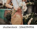 blogger girl holding a bunch of ... | Shutterstock . vector #1066394906