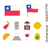 chile icons set in flat cartoon ... | Shutterstock .eps vector #1066427795