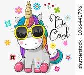 Stock vector cute cartoon cute unicorn with sun glasses 1066441796