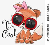cool cartoon cute fox with sun... | Shutterstock .eps vector #1066443068