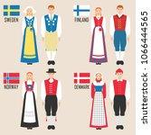 scandinavian man and woman in... | Shutterstock .eps vector #1066444565