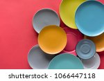 colorful plates composition on...   Shutterstock . vector #1066447118