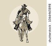 american cowboy riding horse....   Shutterstock .eps vector #1066465898