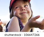 Really Cute Child posing and expressing positivity - stock photo