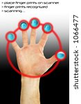 fingers being scanned for their ... | Shutterstock . vector #1066477