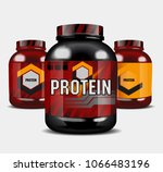 sports nutrition   protein whey.... | Shutterstock .eps vector #1066483196