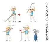 boy playing golf. funny cartoon ... | Shutterstock .eps vector #1066490198