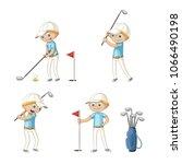 boy playing golf. funny cartoon ... | Shutterstock .eps vector #1066490198