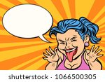 young woman showing tongue... | Shutterstock .eps vector #1066500305