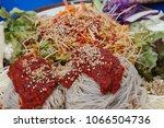buckwheat noodles  mak guksu    ... | Shutterstock . vector #1066504736
