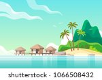 tropical landscape with tourist ... | Shutterstock .eps vector #1066508432