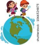 children walking on planet. ... | Shutterstock .eps vector #1066524875