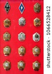 Small photo of badges, military school, badges of the military Suvorov Cadet School for many years, collection