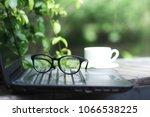 outdoor workspace with laptop... | Shutterstock . vector #1066538225