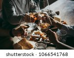 Stock photo wine and cheese served for a friendly party in a bar or a restaurant 1066541768