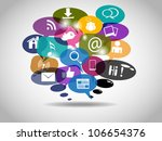 social network icons on bubbles ... | Shutterstock .eps vector #106654376