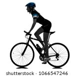 one caucasian cyclist woman... | Shutterstock . vector #1066547246