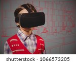 boy in virtual reality headset... | Shutterstock . vector #1066573205