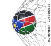 south sudan flag soccer ball...   Shutterstock . vector #1066580888