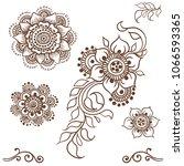 mehndi set in sketch style.... | Shutterstock .eps vector #1066593365