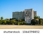 "Small photo of Havana, Cuba. March, 2018 - Steel memorial of Che Guevara on Ministry of Interior, with the quotation ""Hasta la Victoria Siempre"" (Until the Everlasting Victory, Always), Plaza de la Revolucion"