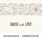 baked with love. horizontal... | Shutterstock .eps vector #1066612418